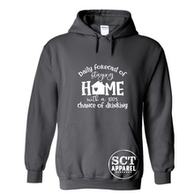 Load image into Gallery viewer, Daily forecast of staying home with a 100% chance of drinking - Unisex hoodie
