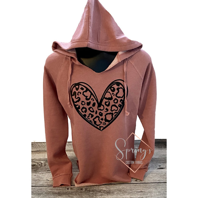 Leopard heart - Ladies hooded pullover - RTS