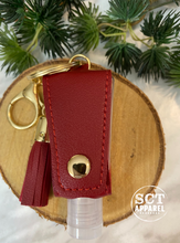 Load image into Gallery viewer, Red Leather keychain with (empty) 30ml hand sanitizer bottle