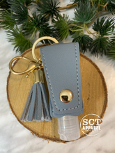 Load image into Gallery viewer, Grey Leather keychain with (empty) 30ml hand sanitizer bottle