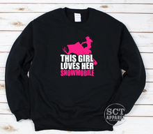 Load image into Gallery viewer, This girl loves her snowmobile - Unisex crewneck sweater