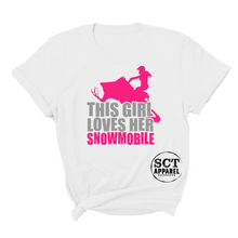 Load image into Gallery viewer, This girl loves her snowmobile - Ladies tee