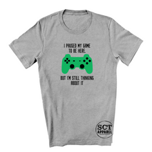Load image into Gallery viewer, I paused my game to be here, I'm still thinking about it- Youth tee