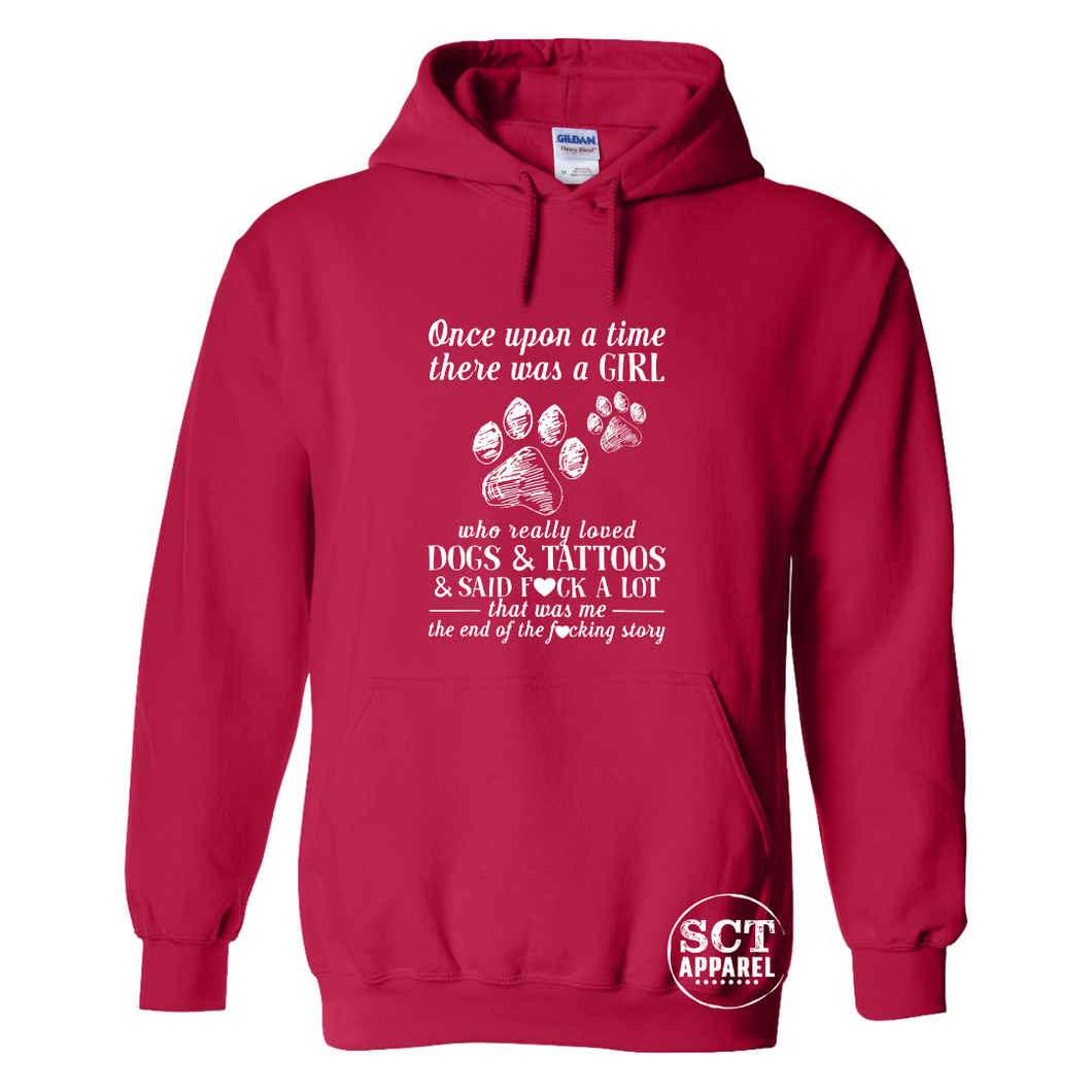 Once up a time there was a girl...dogs, tattoos & f#ck - Unisex hoodie