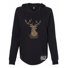 Load image into Gallery viewer, Merry Christmas leopard print deer - Ladies hooded pullover