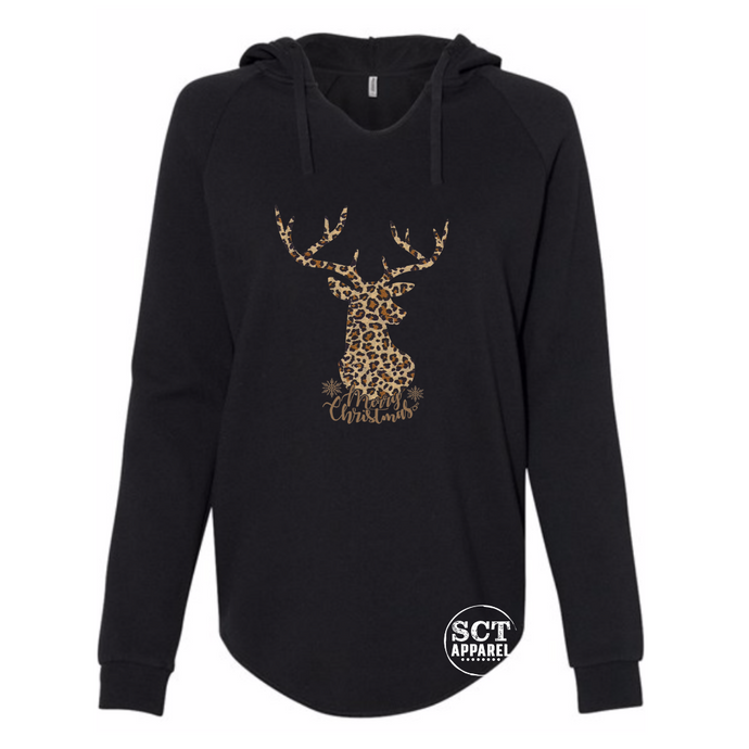 Merry Christmas leopard print deer - Ladies hooded pullover