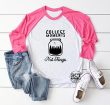 Load image into Gallery viewer, Collect Moments Not Things - Unisex Raglan/Baseball Shirt