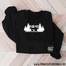 Load image into Gallery viewer, Home - Saskatchewan - Moose/Trees - Unisex crewneck sweater