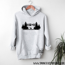 Load image into Gallery viewer, Home - Saskatchewan - Moose/Trees - Unisex Hoodie/Bunnyhug