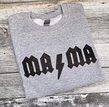 Load image into Gallery viewer, RTS - MAMA ACDC Themed (Black Glitter) Medium Unisex crewneck sweater