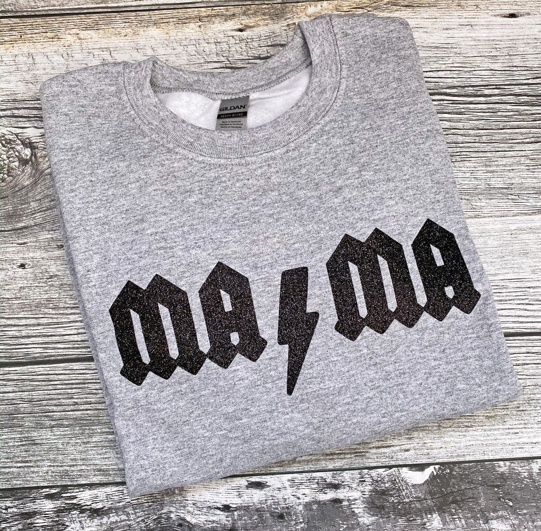 RTS - MAMA ACDC Themed (Black Glitter) Medium Unisex crewneck sweater