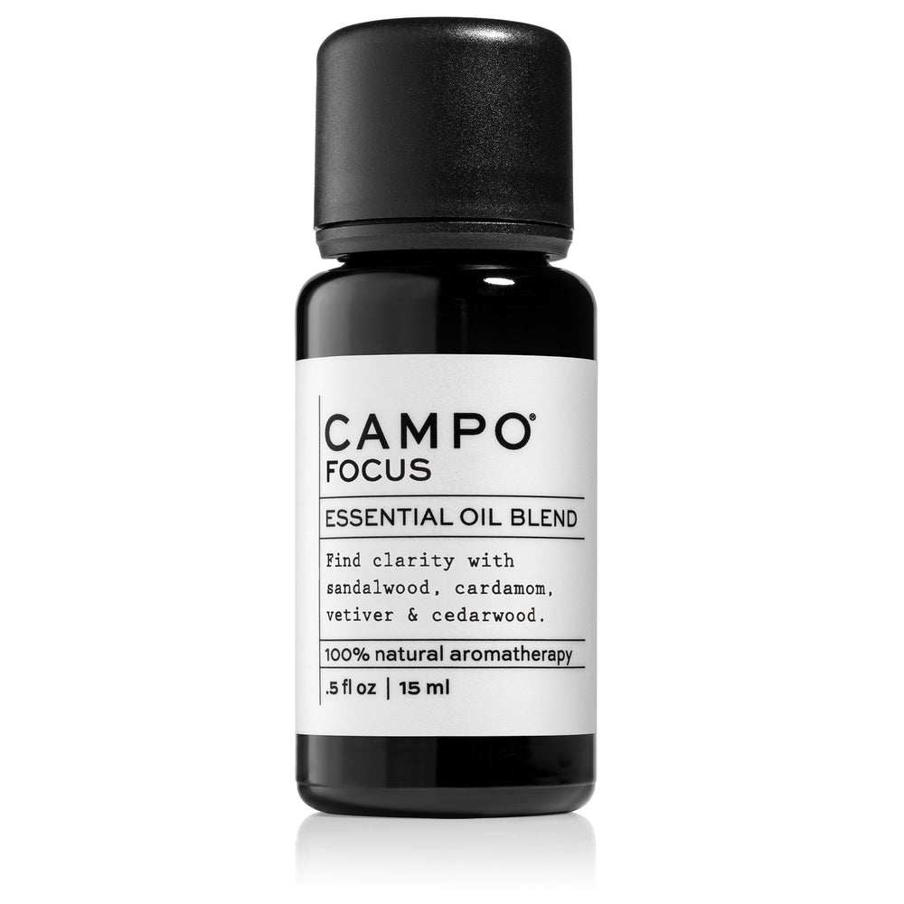 Campo Beauty FOCUS Blend 15 ml Essential Oil. Inspires feelings of peace and tranquility to promote heightened awareness and mental clarity.  A grounding blend of 100% pure essential oils of warm, woodsy Australian Sandalwood, Cardamom, Vetiver, Cedarwood Virginia, Cedarwood Texas, Cedarwood Himalayan, and Cedarwood Atlas.