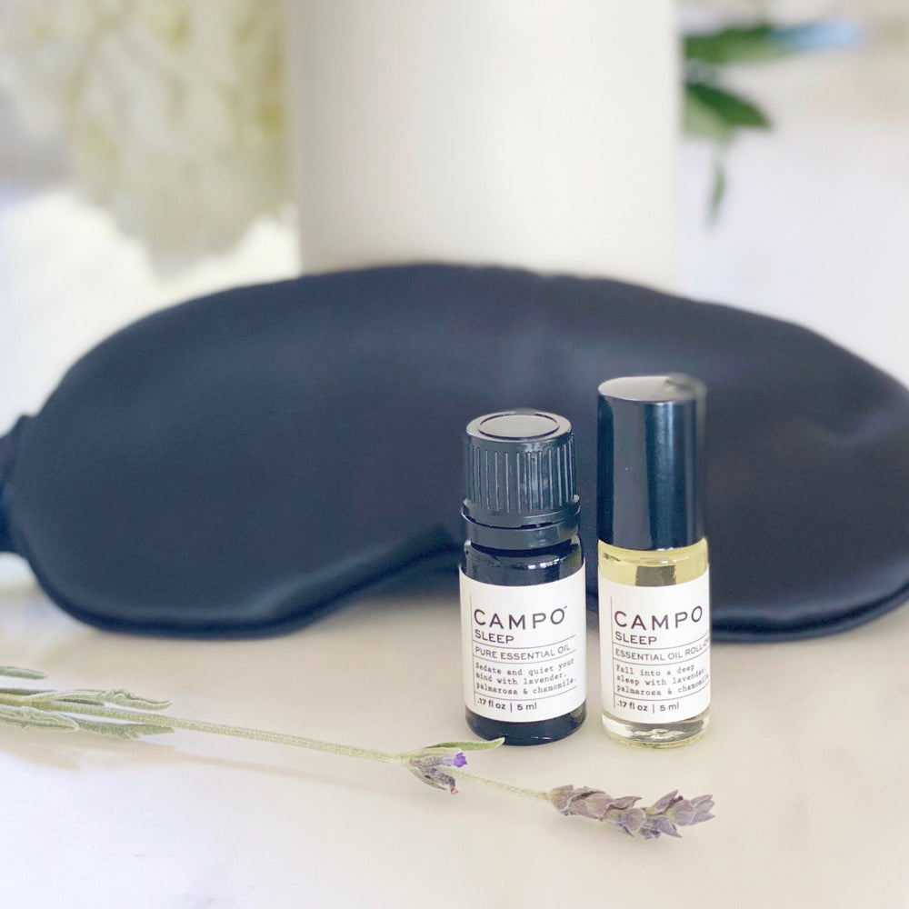 White Ceramic Essential Oil Diffuser + Sleep Pure Essential Oil + Sleep Essential Oil Roll-on + Black Silk Sleep Mask.