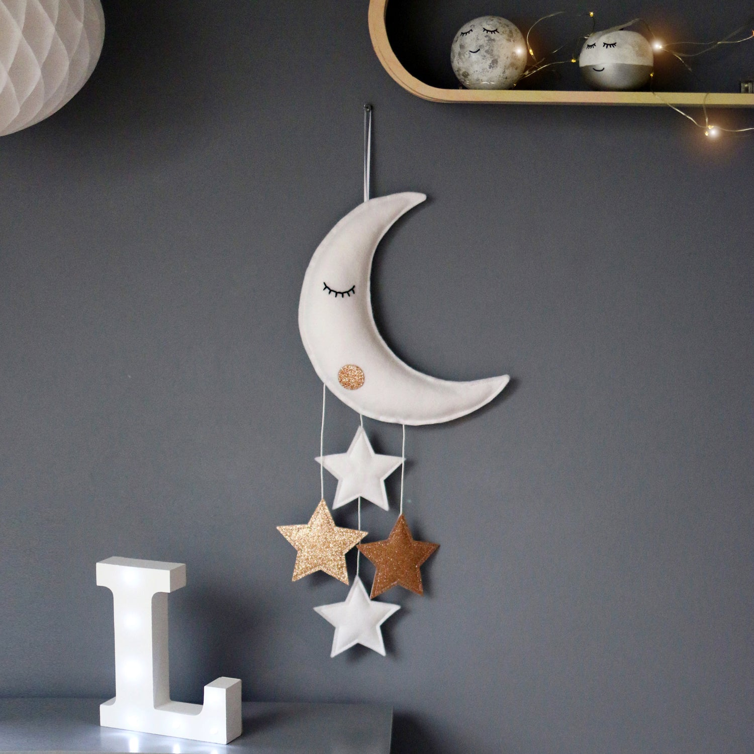 White sleepy moon and stars baby mobile