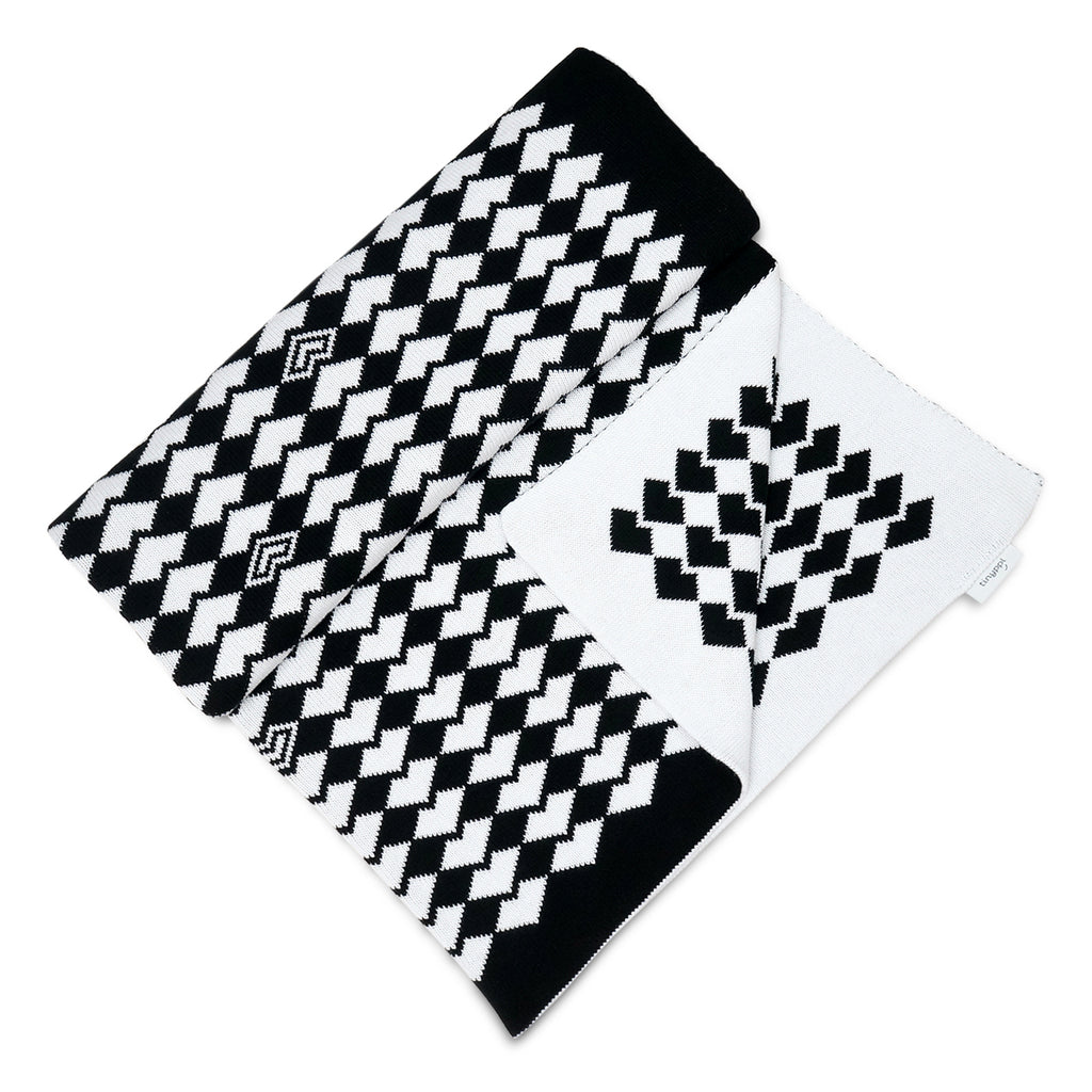 Large Knitted Baby Blanket in Black and White