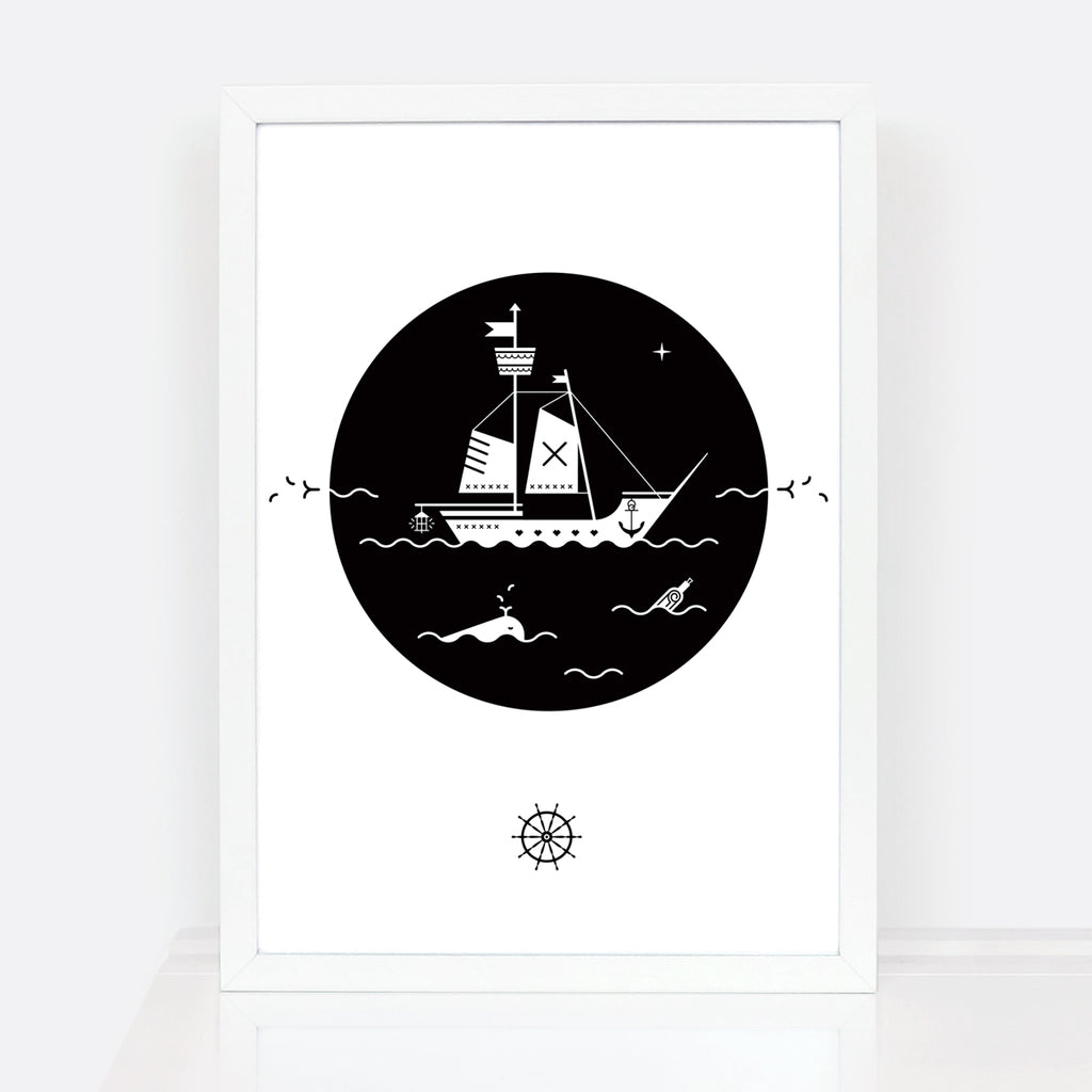 Decorative Monochrome Pirate Ship Kids Room Print