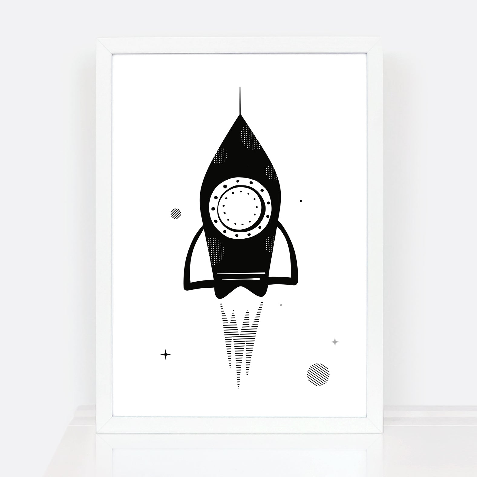 Rocket nursery print for kids in black and white