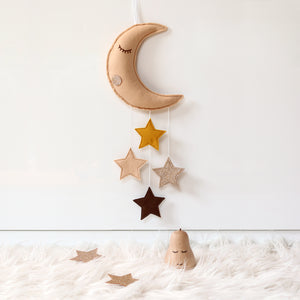 Moon baby mobile in tan and mustard