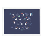 To The Moon And Back Nursery Wall Art Dark Blue