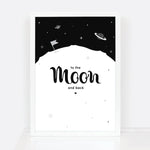 To the moon and back print for kids room