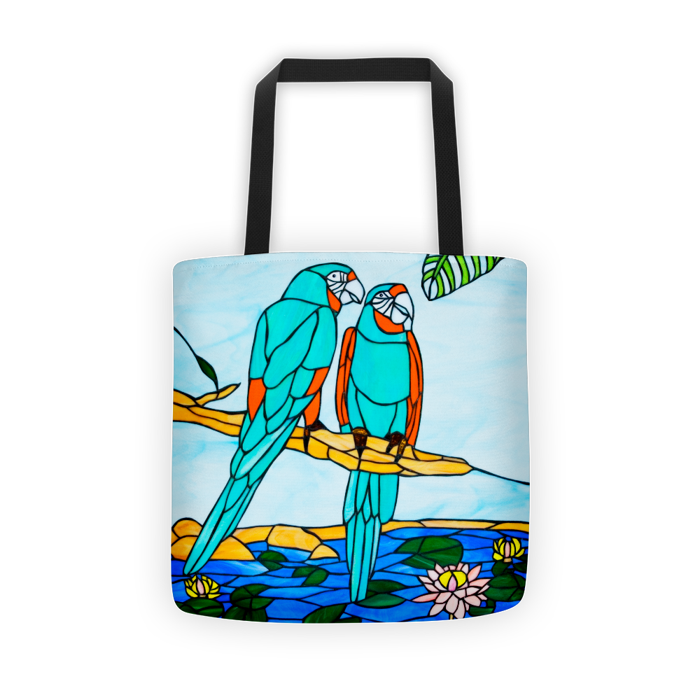 Tote bag, In Love Teal Parrots
