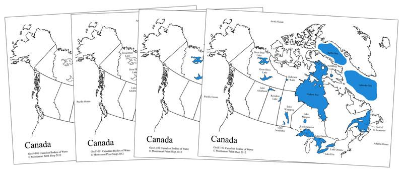 Canadian Bodies of Water Map - Montessori Print Shop geography materials