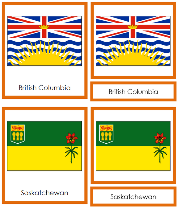 Canadian Flags - Montessori continent cards