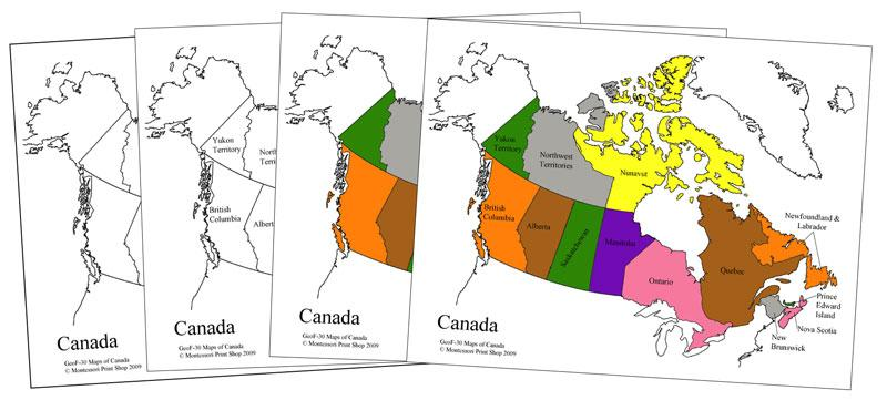 Canada Control Maps & Masters - Montessori Print Shop geography materials