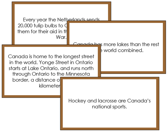 Canada Fun Facts - Montessori geography cards