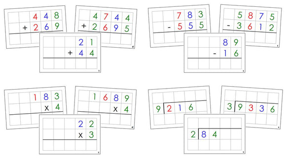 Math Operations Command Cards (color) Bundle - Montessori Print Shop