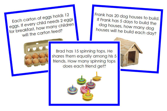 Division Word Problems (color) - Montessori Print Shop