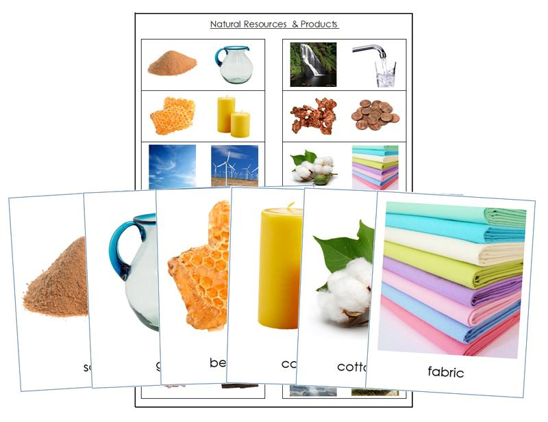 Natural Resources And Their Products - Montessori Print Shop science cards