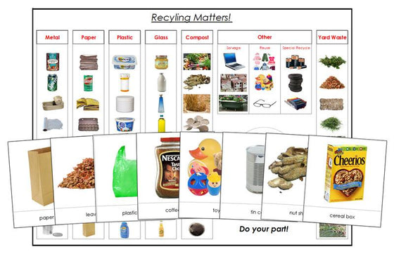 Recycling Matters Chart and Cards - Montessori Print Shop