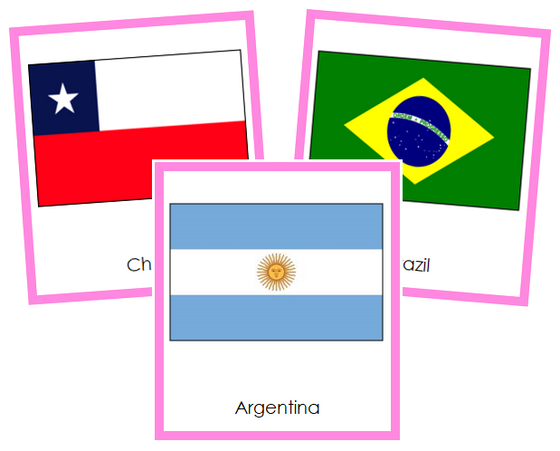 South American Flags - Montessori continent cards