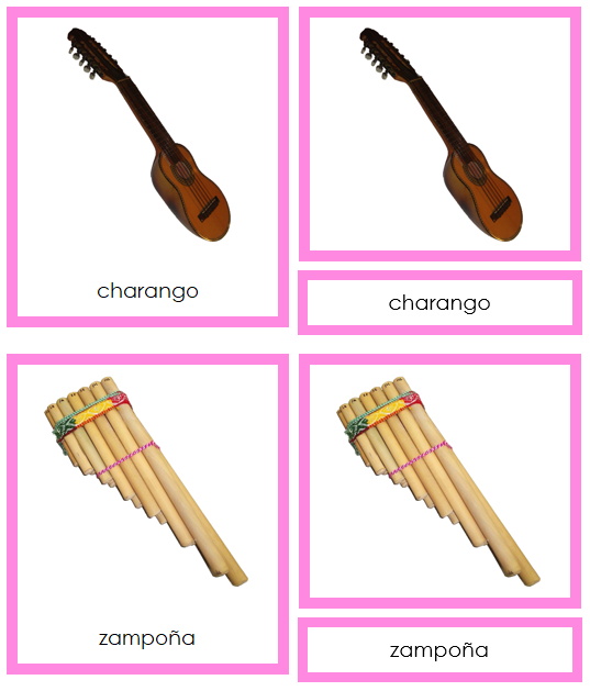 South American Musical Instruments (color-coded) - Montessori geography cards