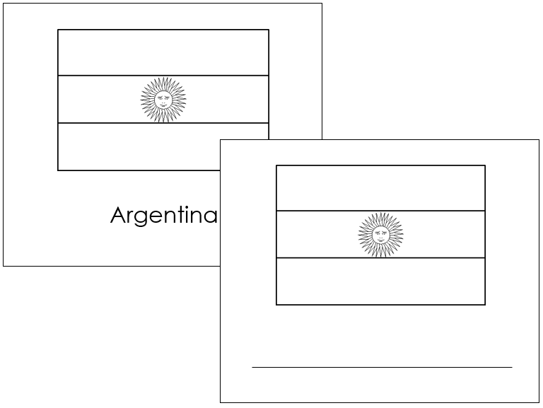 South American Flags: Outlines - Montessori geography materials