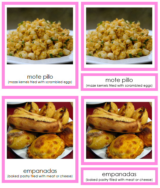 South American Food (color-coded) - Montessori continent cards