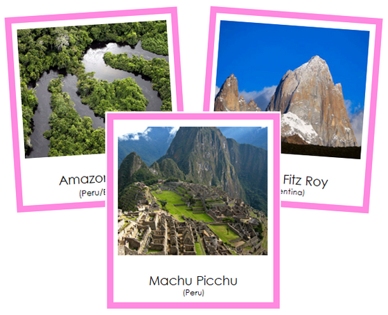 South American Landmarks (color-coded) - Montessori continent cards