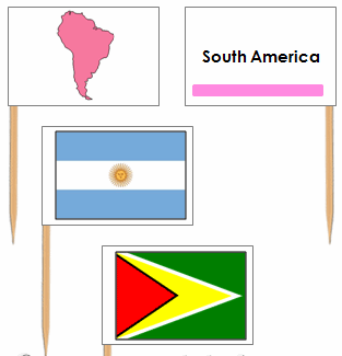 South American Flags: Pin Flags - Montessori geography materials