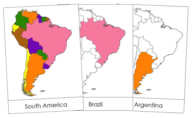 South America Flash Cards - Montessori geography materials