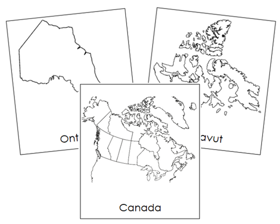 Canadian Provinces & Territories 3-part cards - Montessori Print Shop