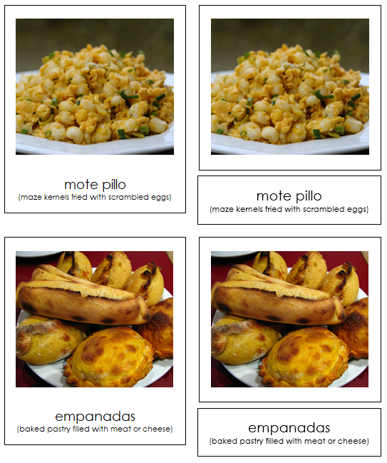 South American Food - Montessori continent cards