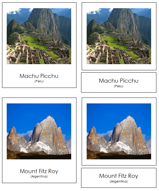South American Landmarks - Montessori continent cards