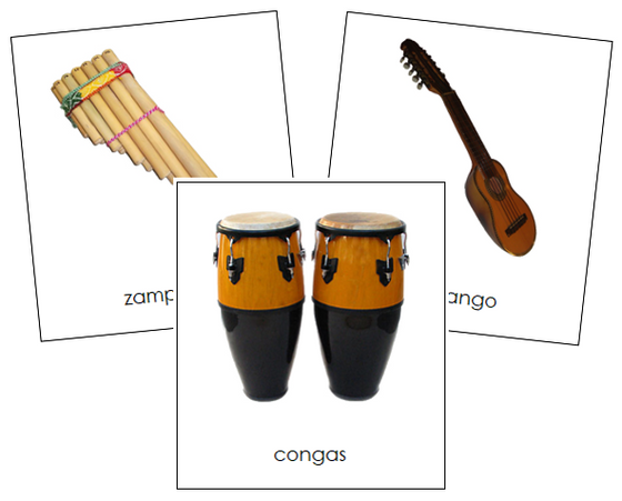 South American Musical Instruments - Montessori continent cards