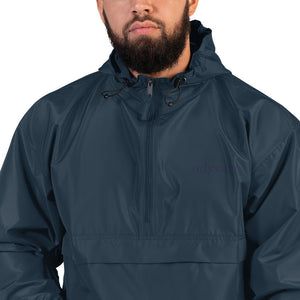 monochromatic branded rain jacket.
