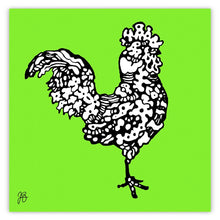 Contemporary Rooster Lime  Green.