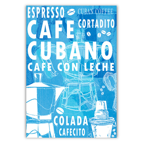 Cuban Coffee Menu Blue