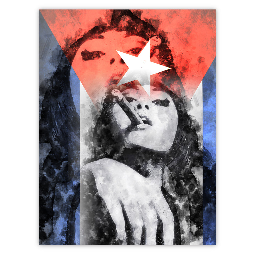 Cuban Girl and Flag