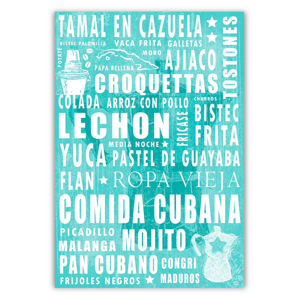 Cuban Coffee Menu Teal