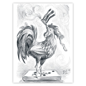 Cuban Rooster Sketch Tres